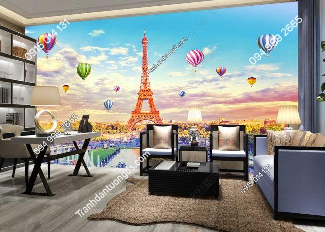 Tranh dán tường tháp Eiffel và khinh khí cầu DS_17036091