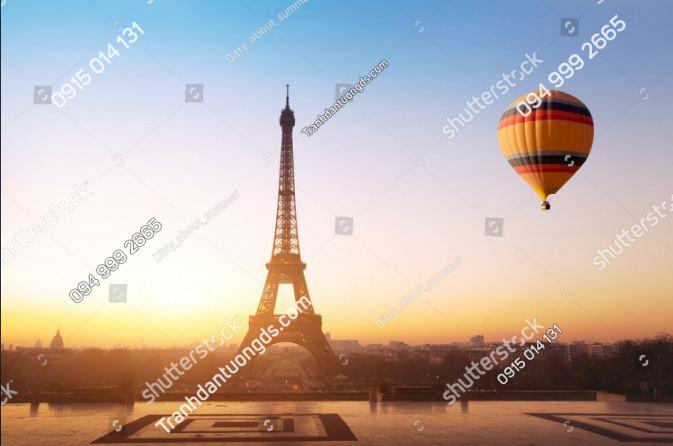 Tranh dán tường tháp Eiffel và khinh khí cầu ST_545921290