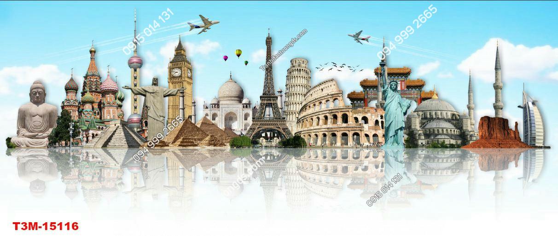 Tranh dán tường tháp Eiffel và kỳ quan khác-15116