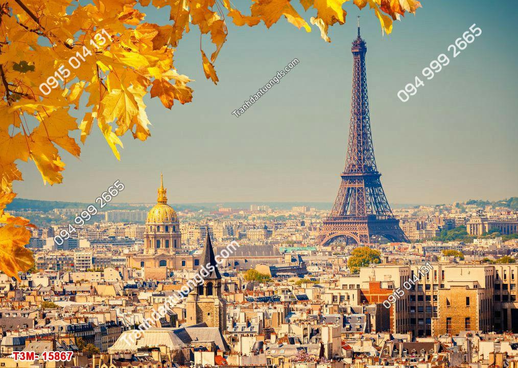 Tranh dán tường tháp Eiffel và lá vàng - 15867