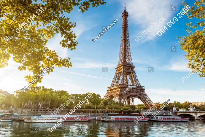 Tranh dán tường tháp Eiffel và sông 112137761