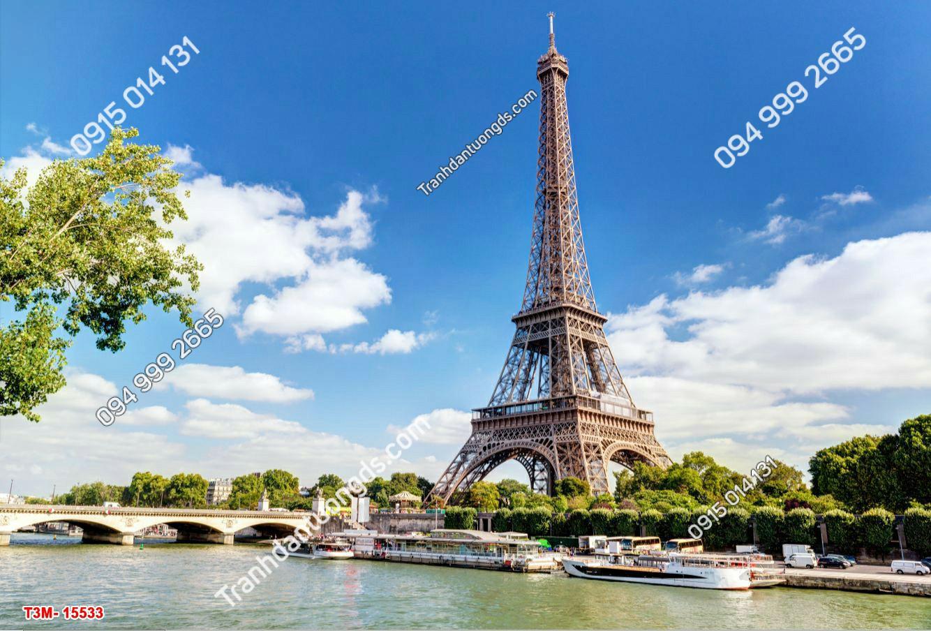 Tranh dán tường tháp Eiffel và trời xanh mây trắng- 15533