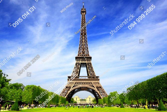 Tranh dán tường tháp Eiffel và trời xanh mây trắng ST_125112029