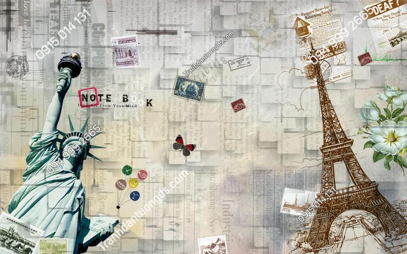 Tranh dán tường tháp Eiffel và tượng nữ thần tự do - (5009)