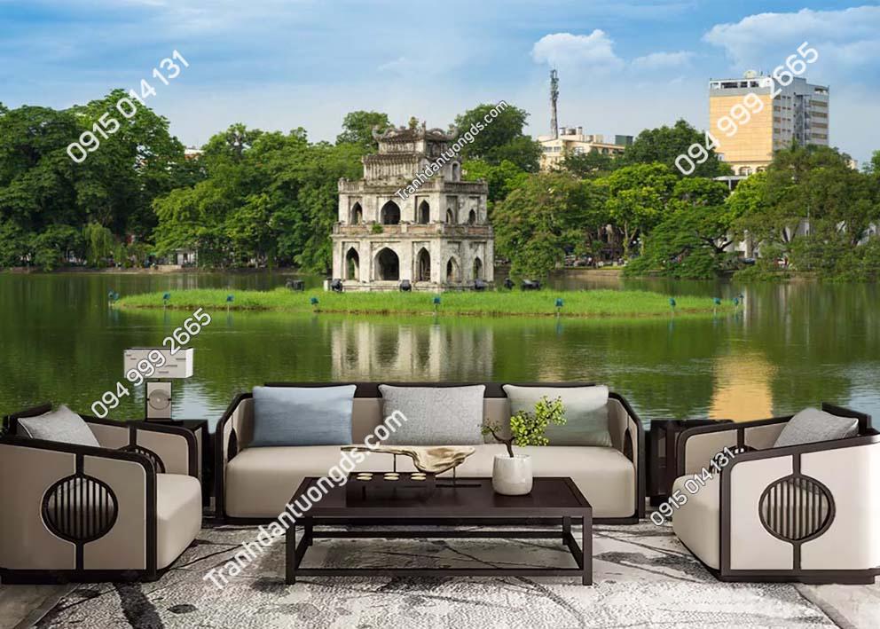 Tranh dán tường tháp rùa hồ hoàn kiếm Hà Nội -HNX58