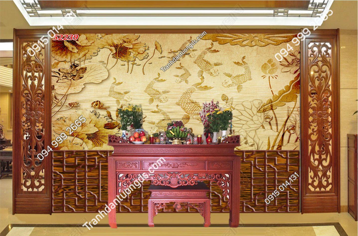 Tranh dán tường trúc chỉ cá chép hoa sen 52239