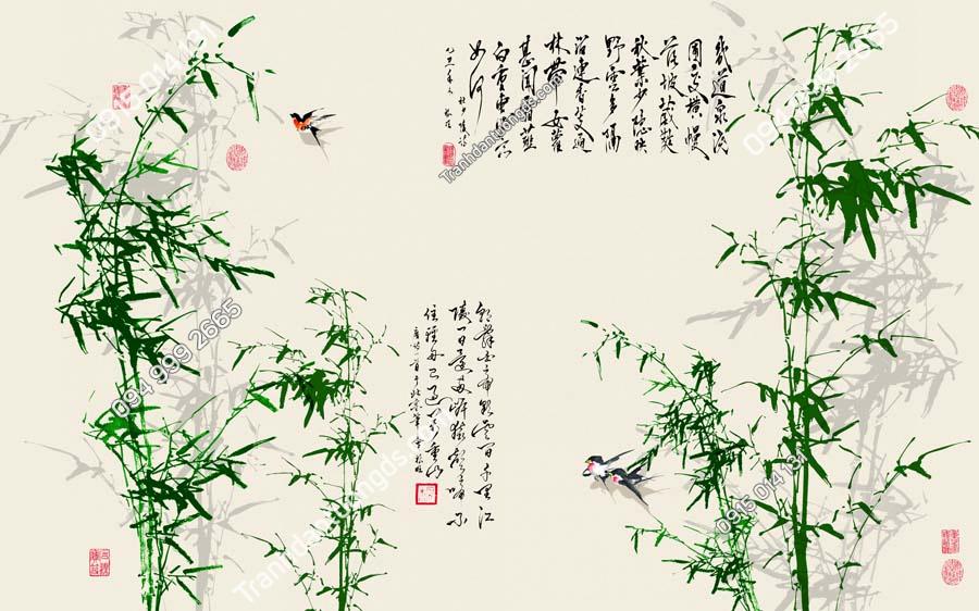 Tranh dán tường trúc xanh và thơ HHD407