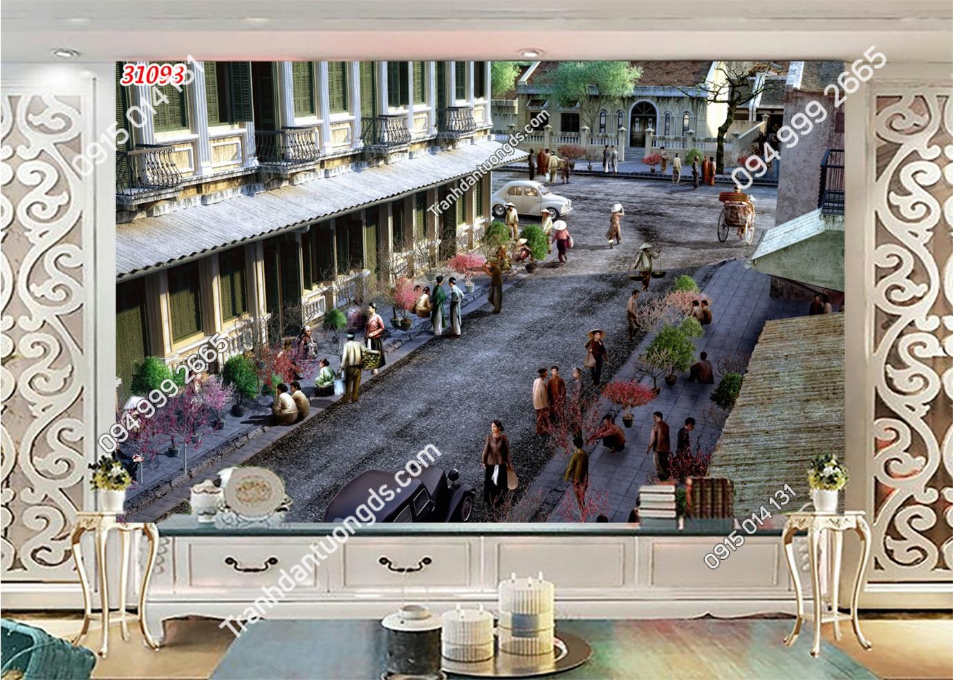 Tranh dán tườngphố chợ xưa Hà Nội 31093