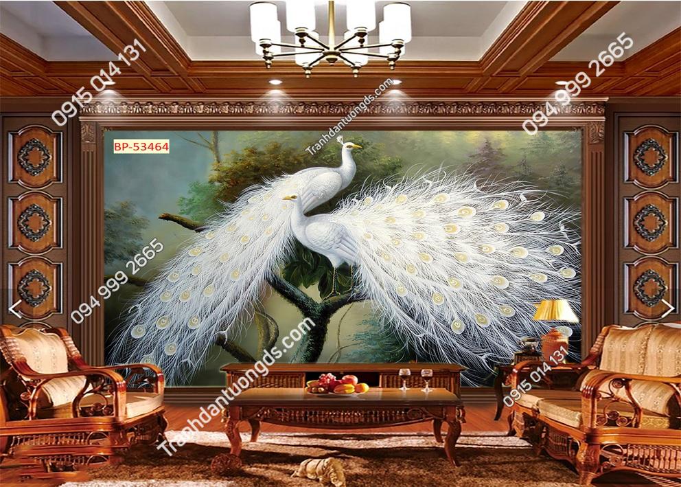 Tranh đôi chim công trắng 53464