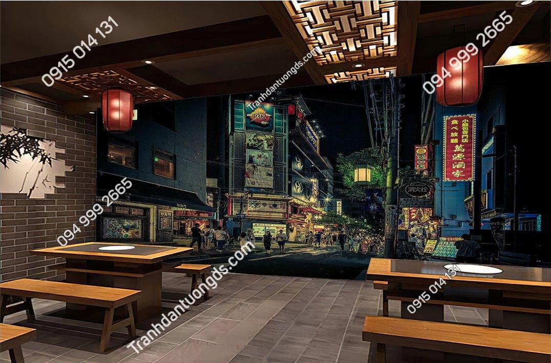Tranh đường phố hongkong đẹp cho nhà hàng