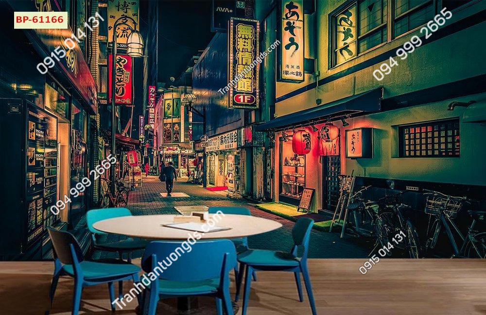 Tranh đường phố nhật bản về đêm