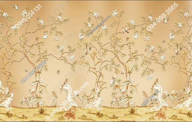 Tranh hoa và chim dán tường DS_13859252
