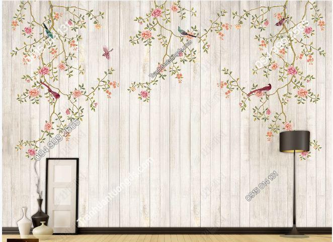 Tranh hoa và chim dán tường DS_16107136