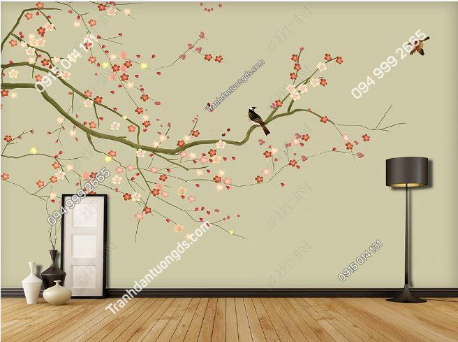 Tranh hoa và chim dán tường DS_16356160