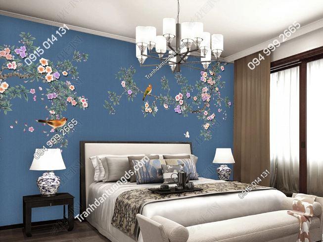 Tranh hoa và chim dán tường DS_16611204