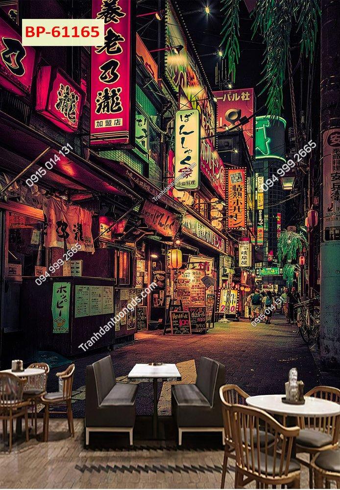 Tranh hongkong dọc dán quán