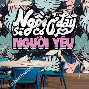 Tranh quán cafe đẹp với logo