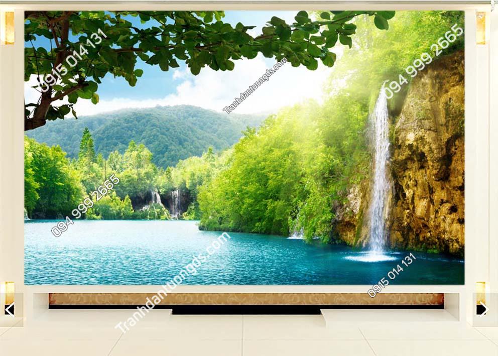 Tranh thác nước bờ hồ dán tường ST015
