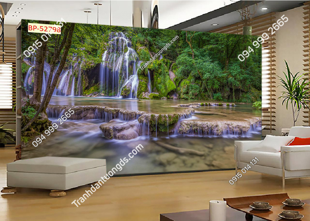 Tranh thác nước đẹp dán tường phòng khách 52798