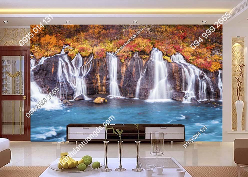 Tranh thác nước đẹp dán tường phòng khách ST049