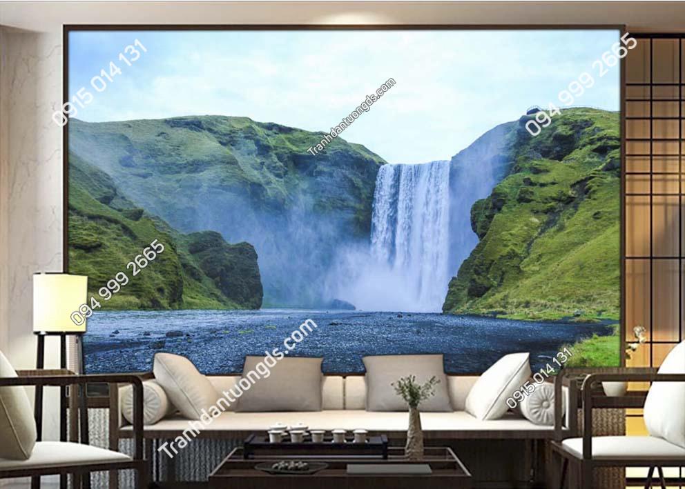 Tranh thác nước đẹp dán tường phòng khách ST051