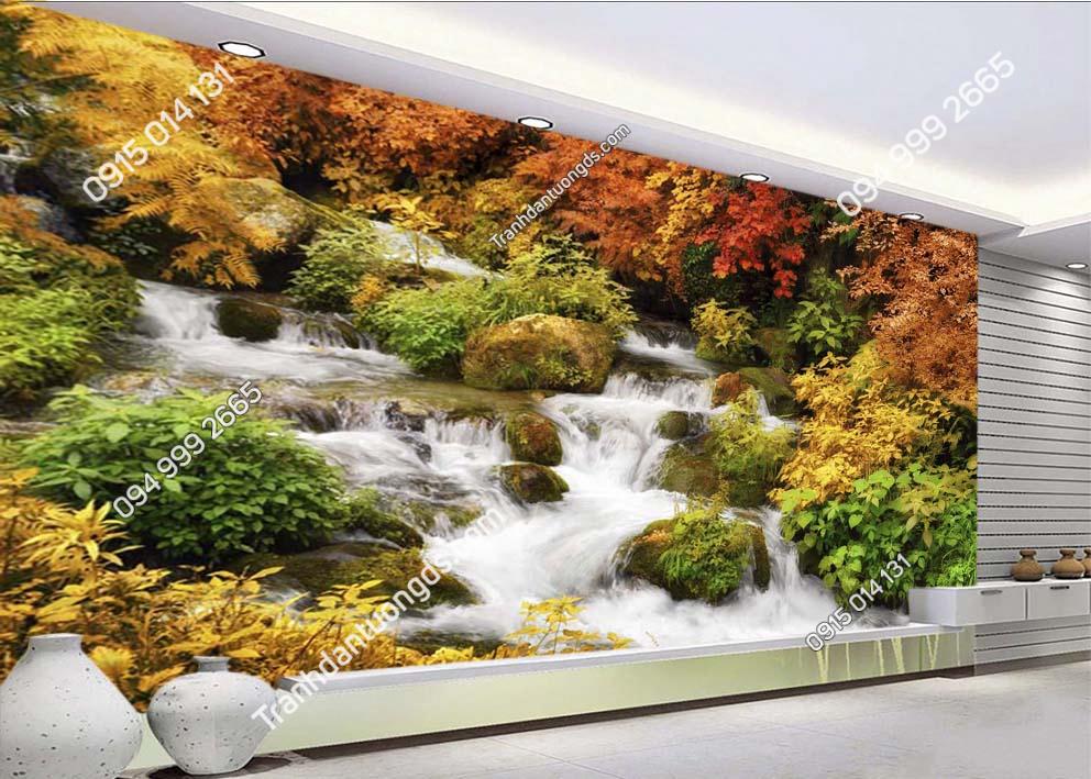 Tranh suối nước dán tường phòng ngủ ST054