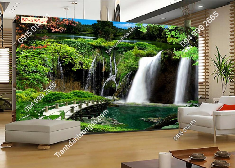 Tranh thác nước và cầu dán tường phòng khách 53634