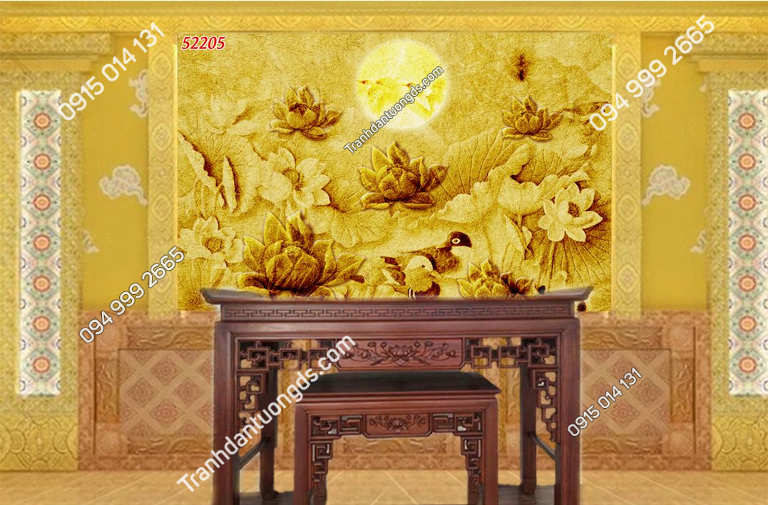 Tranh trúc chỉ bàn thờ gia tiên 52205