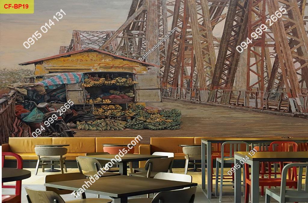 Tranh tường cầu Long Biên dán quán cafe-BP19