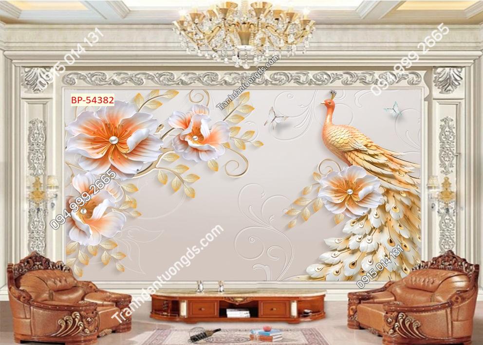 Tranh tường chim công và hoa dán phòng khách 54382