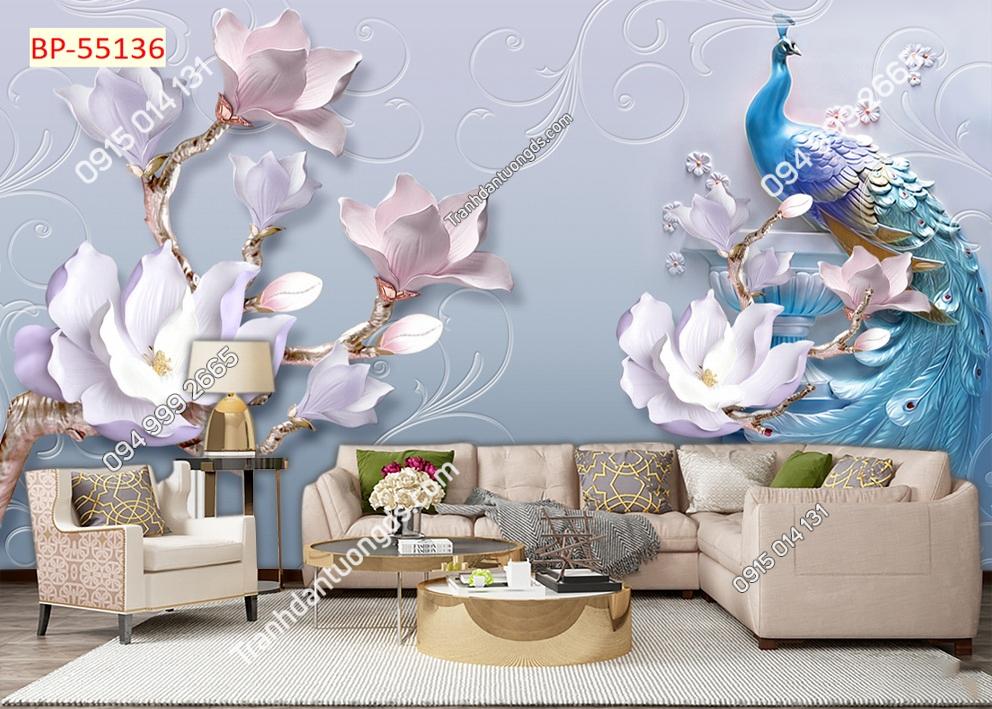 Tranh tường chim công xanh và hoa 55136