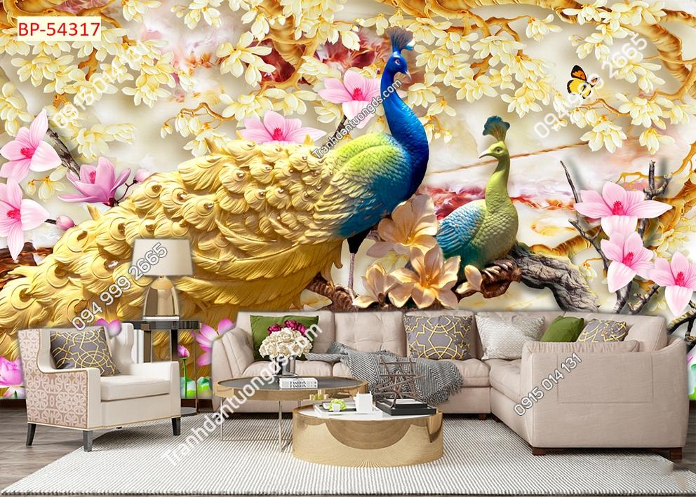 Tranh tường đôi chim công dán sau sofa 54317