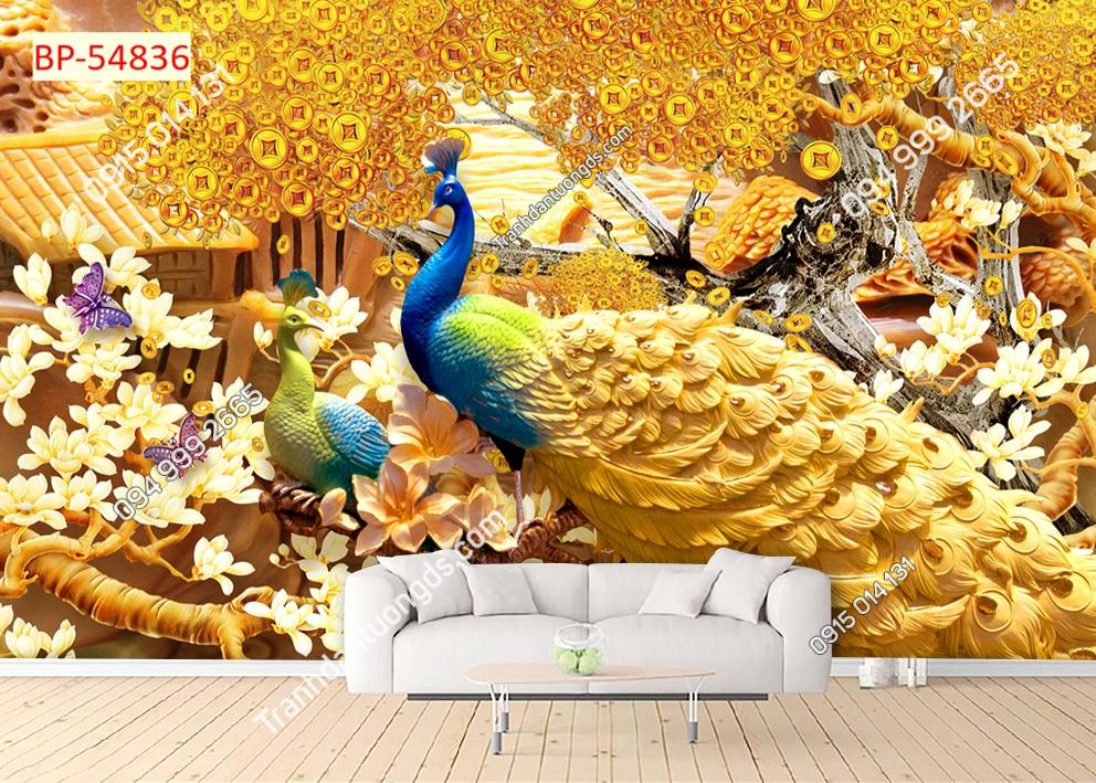 Tranh tường đôi chim công kim tiền 54836