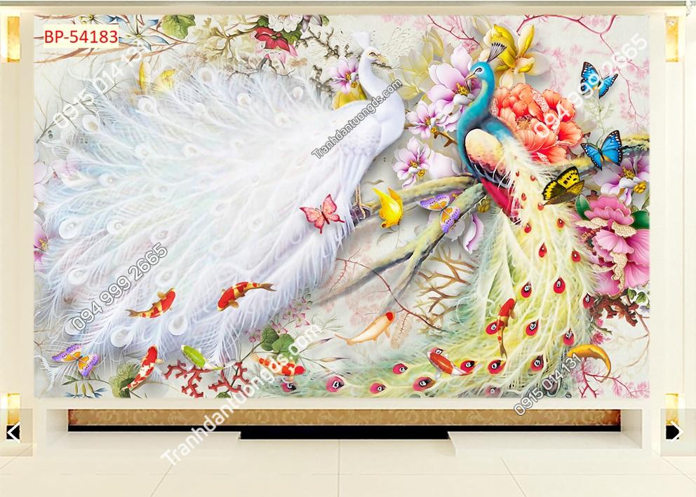Tranh tường đôi chim công trắng và xanh 54183