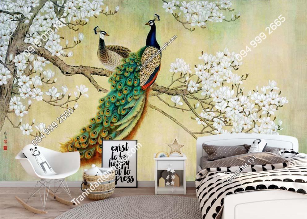Tranh tường đôi chim công và hoa dán phòng ngủ RCP69