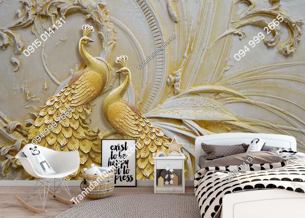 Tranh tường đôi chim công vàng RCP100