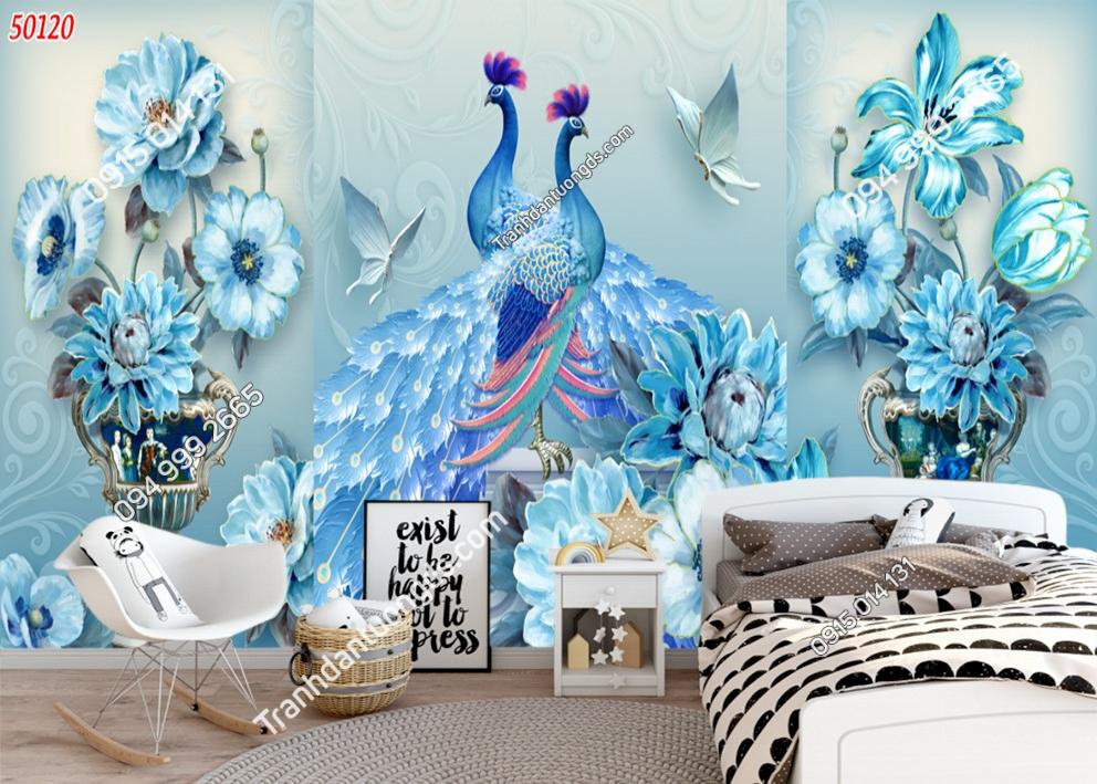 Tranh tường đôi chim công xanh 50120