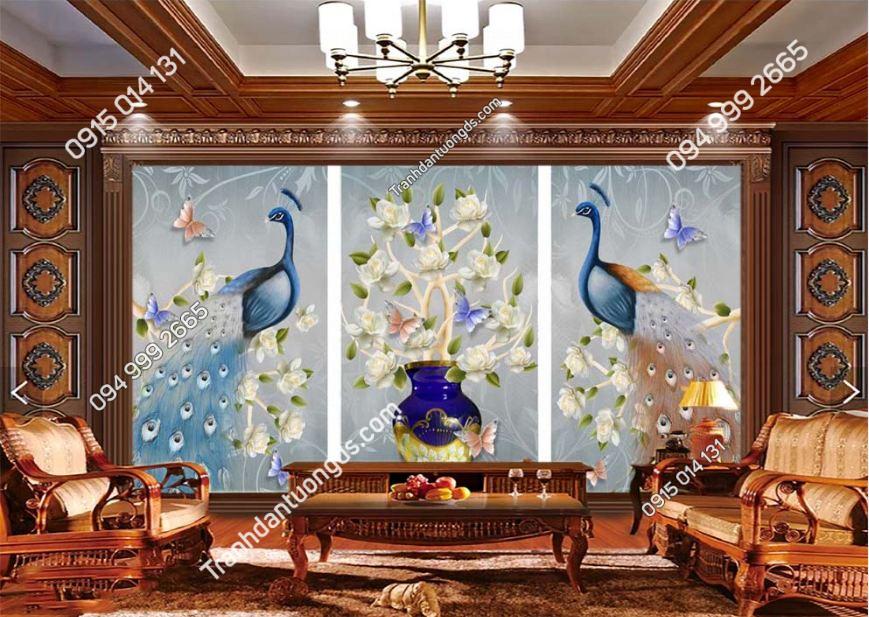 Tranh tường đôi chim công xanh RCP098