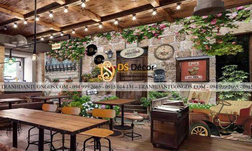 Tranh tường gạch cổ 3D dán quán cafe đẹp