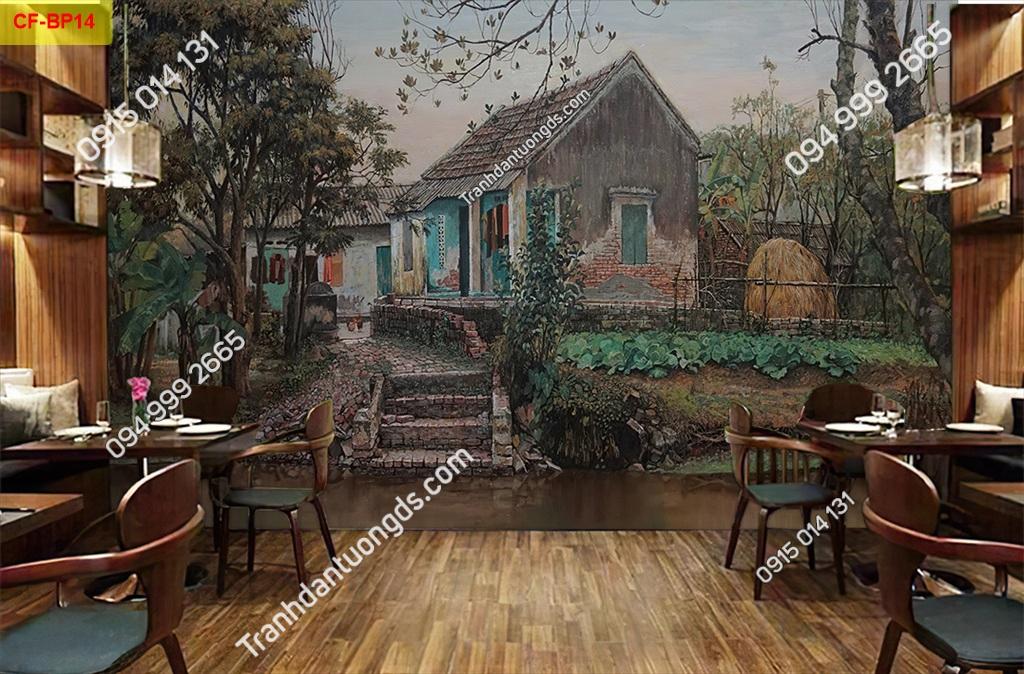 Tranh tường nhà xưa cổ dán quán cafe-BP14