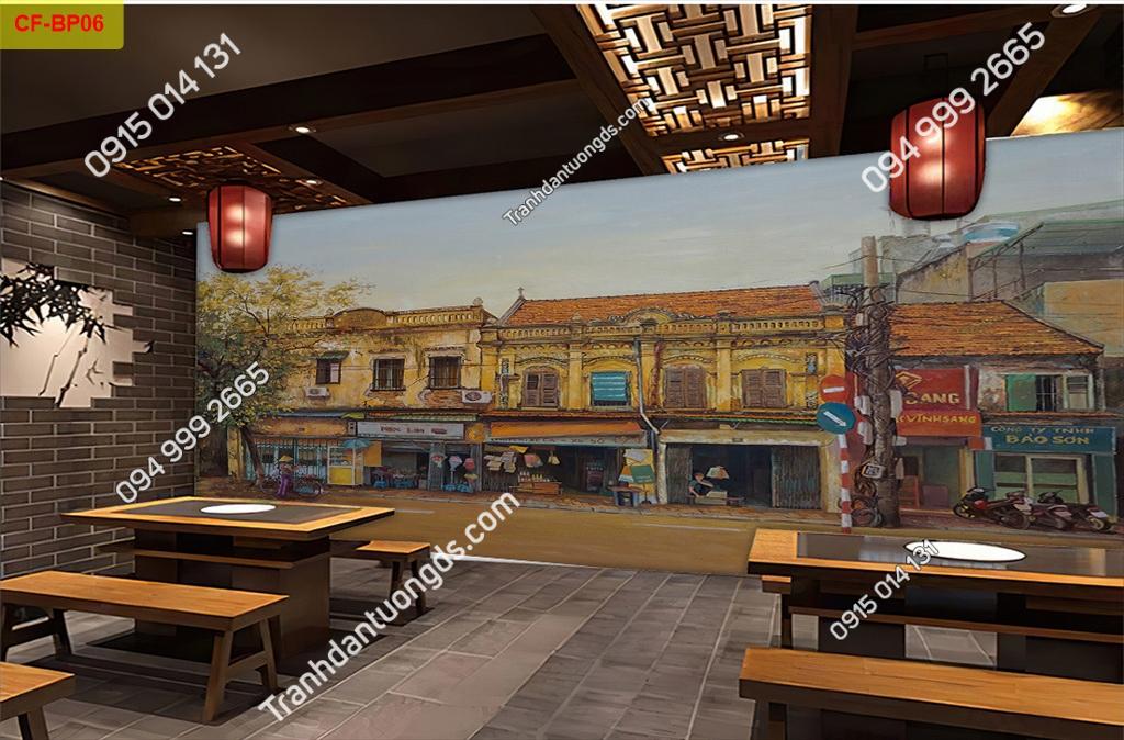 Tranh tường phố cổ dán quán cafe -BP06