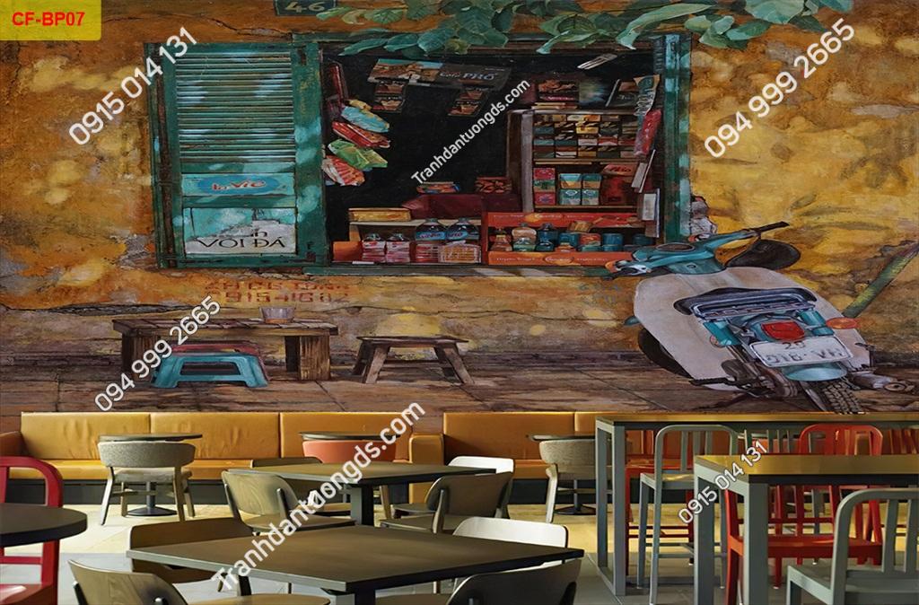 Tranh tường phố cổ dán quán cafe-BP07