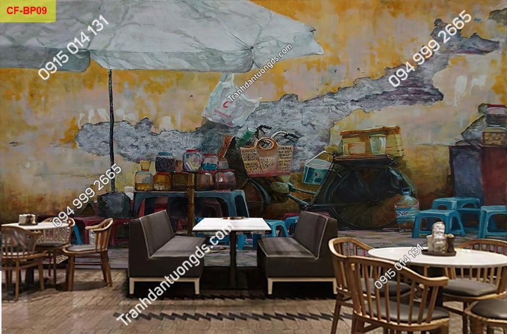 Tranh tường phố cổ dán quán cafe -BP09