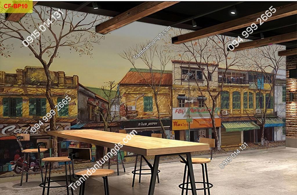 Tranh tường phố cổ dán quán cafe -BP10