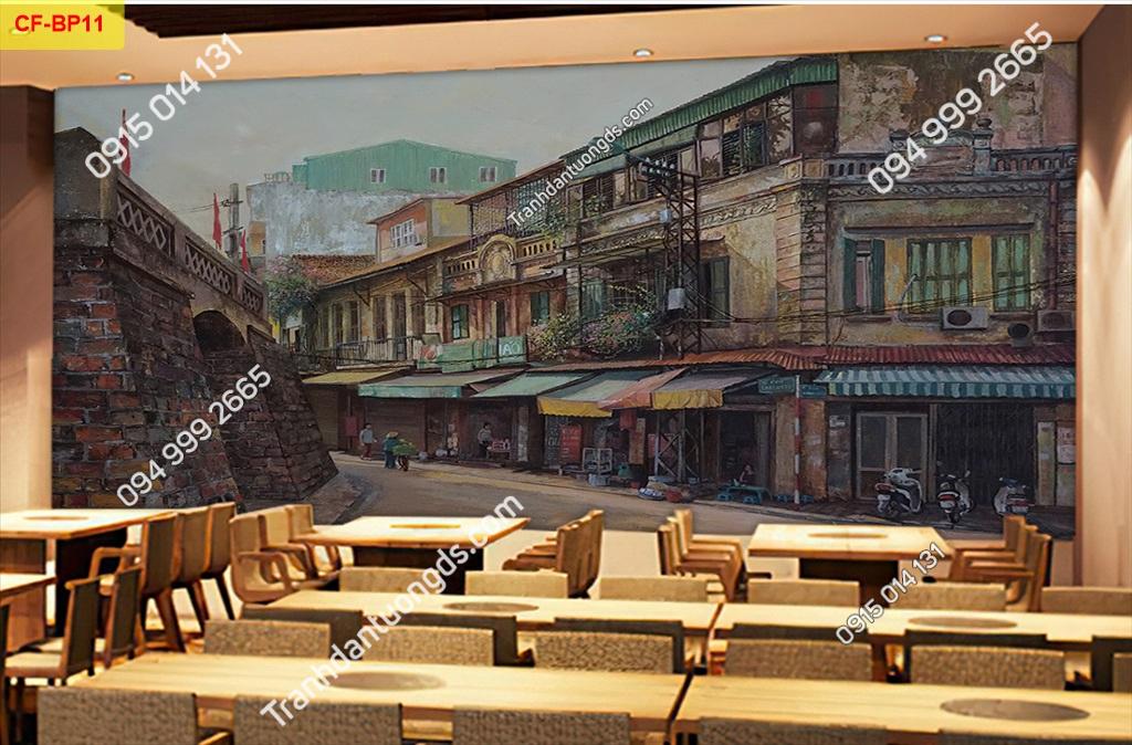 Tranh tường phố cổ dán quán cafe -BP11