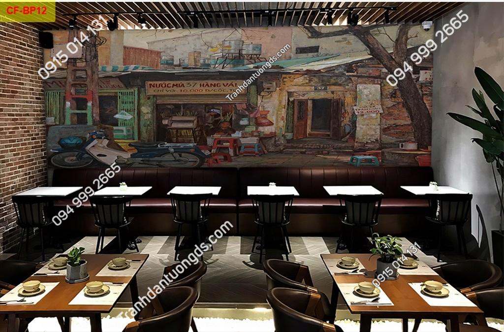 Tranh tường phố cổ dán quán cafe -BP12