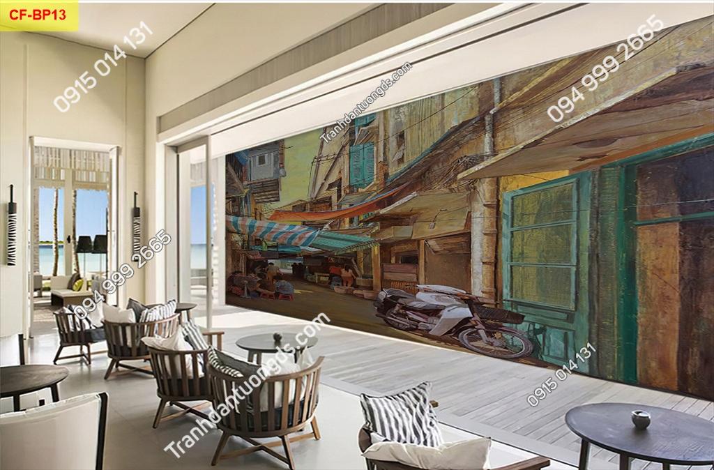 Tranh tường phố cổ dán quán cafe -BP13