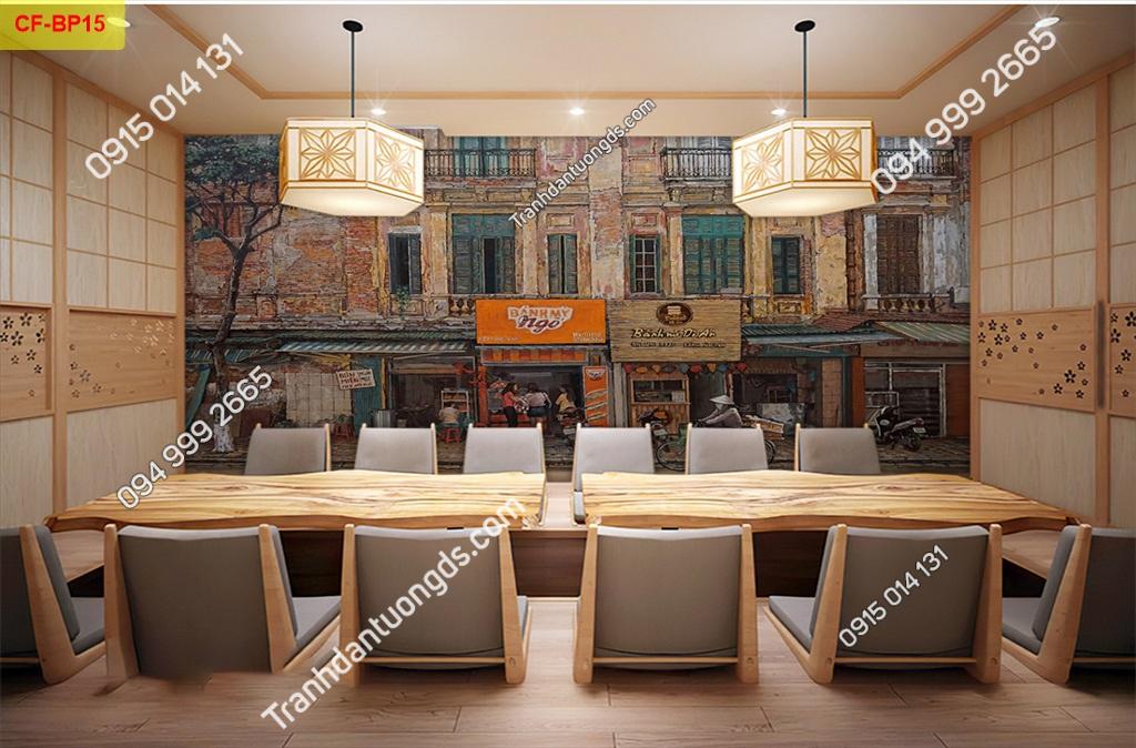 Tranh tường phố cổ dán quán cafe -BP15