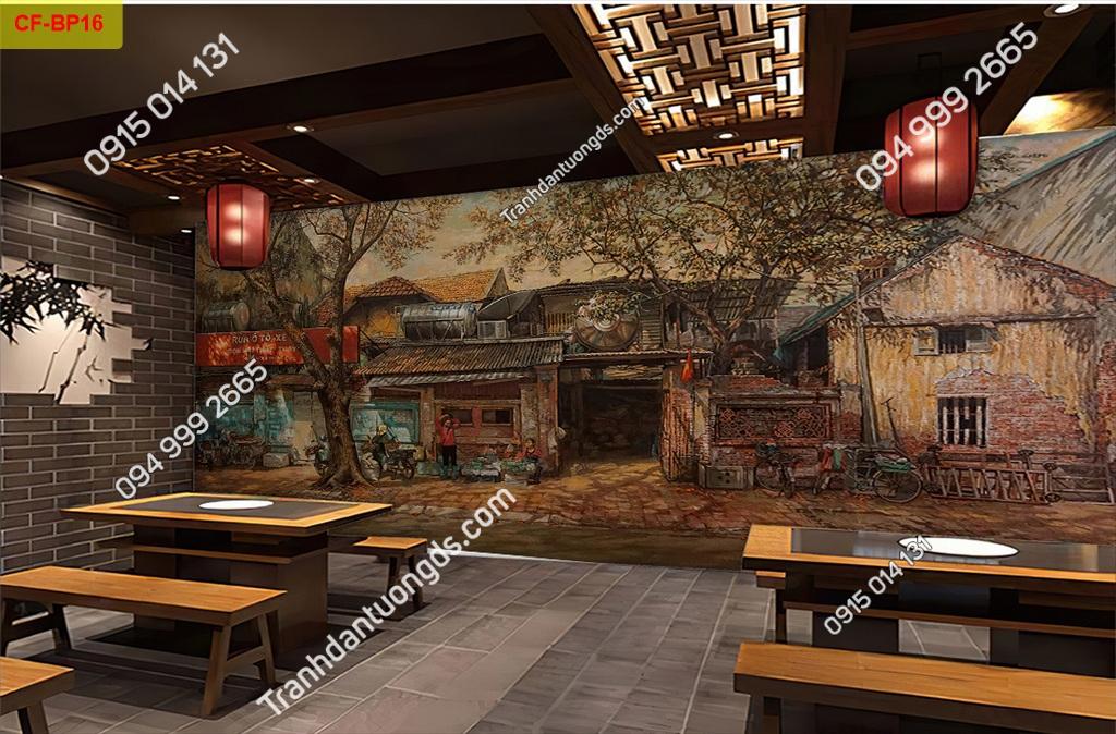 Tranh tường phố cổ dán quán cafe -BP16