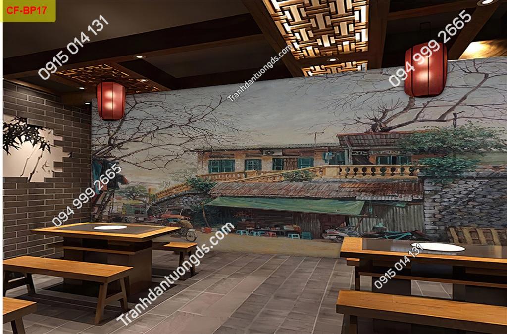 Tranh tường phố cổ dán quán cafe-BP17